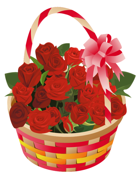 Resultado de imagen de cestas flores rojas png