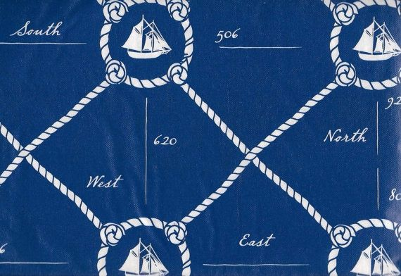 Wonderful Nautical Blue White Tablecloth Vinyl Flannel Back 52 X 70 Table Cover  Coastal Se   1