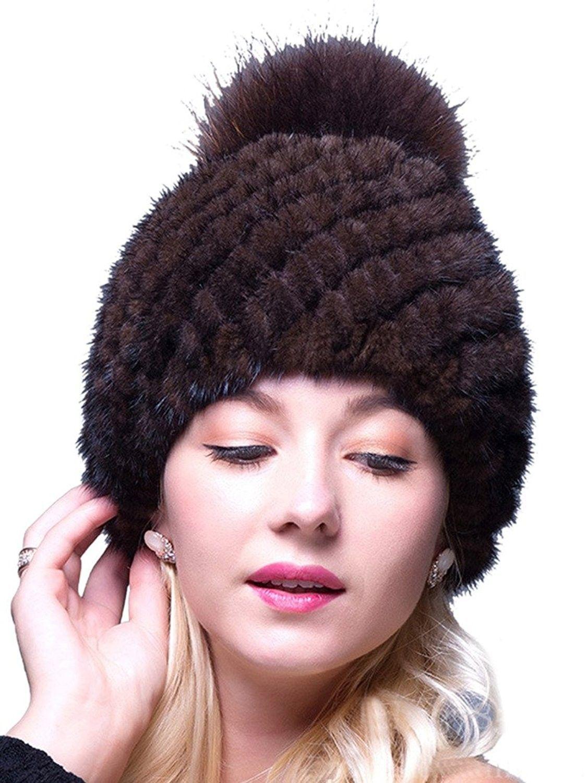 c6a96fc49af36 Thick Winter Genuine Knit Mink Fur Hat with Fox Fur Pom Pom Beanie Winter  Warm Cap New Bonnet - Brown - CW12N7CZ83O - Hats   Caps