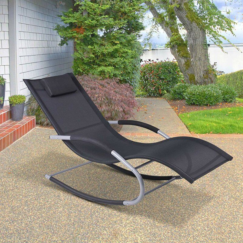 Shane Outdoor Poolside Wave Rocker Reclining Zero Gravity Chair Patio Lounge Chairs Patio Rocking Chairs Patio Lounge