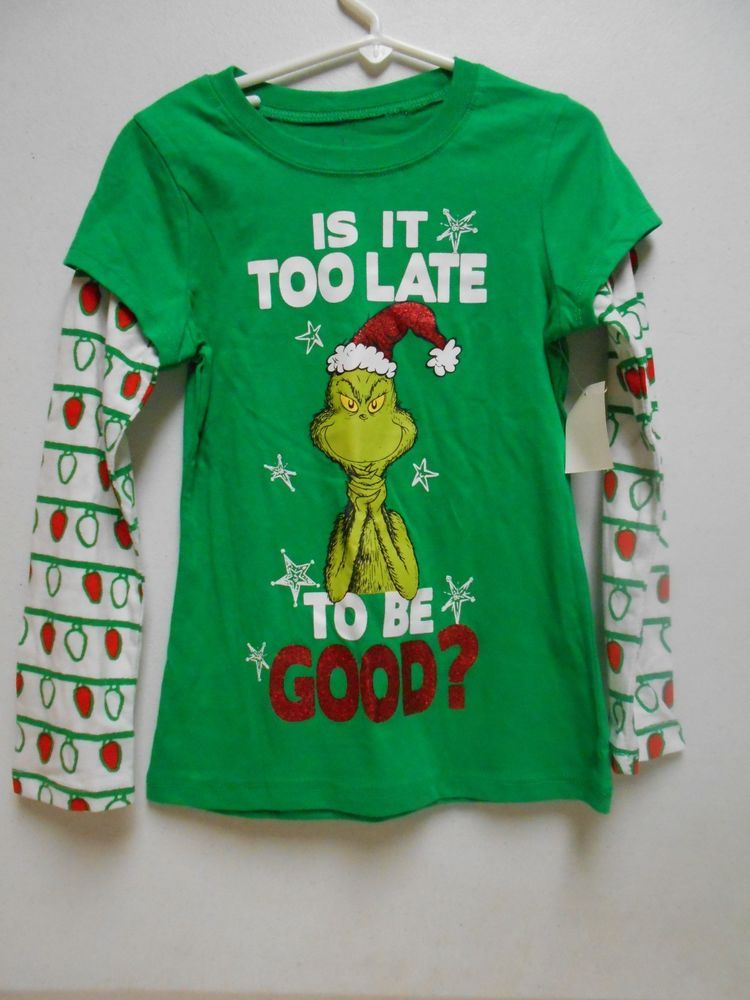 192db544127 Humorous Christmas T-Shirt NEW Grinch Long Sleeve Top SIZE 6-6x (Small)  Girl s…