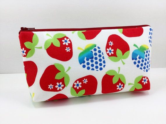 Strawberry Zipper Pouch Cosmetic Bag Gift idea by ZestyNotion