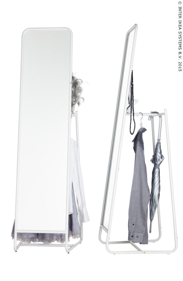 knapper miroir sur pied blanc 48x160 cm. Black Bedroom Furniture Sets. Home Design Ideas