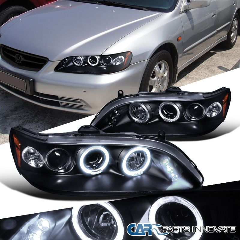 For Honda 98 02 Accord 2 4dr Led Halo Projector Headlights Driving Lamps Black Projector Headlights Honda Accord Coupe Honda Accord