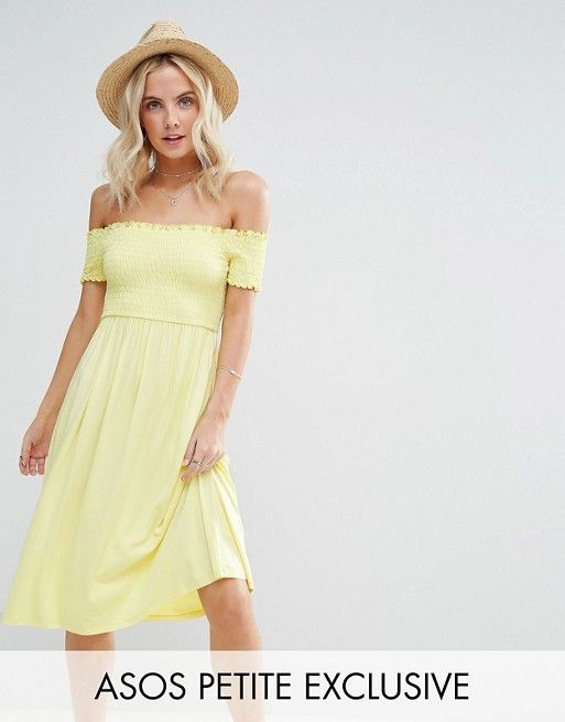 d9e3b491c1a Asos - Petite - Midi Off Shoulder Sundress with Shirring in lemon yellow