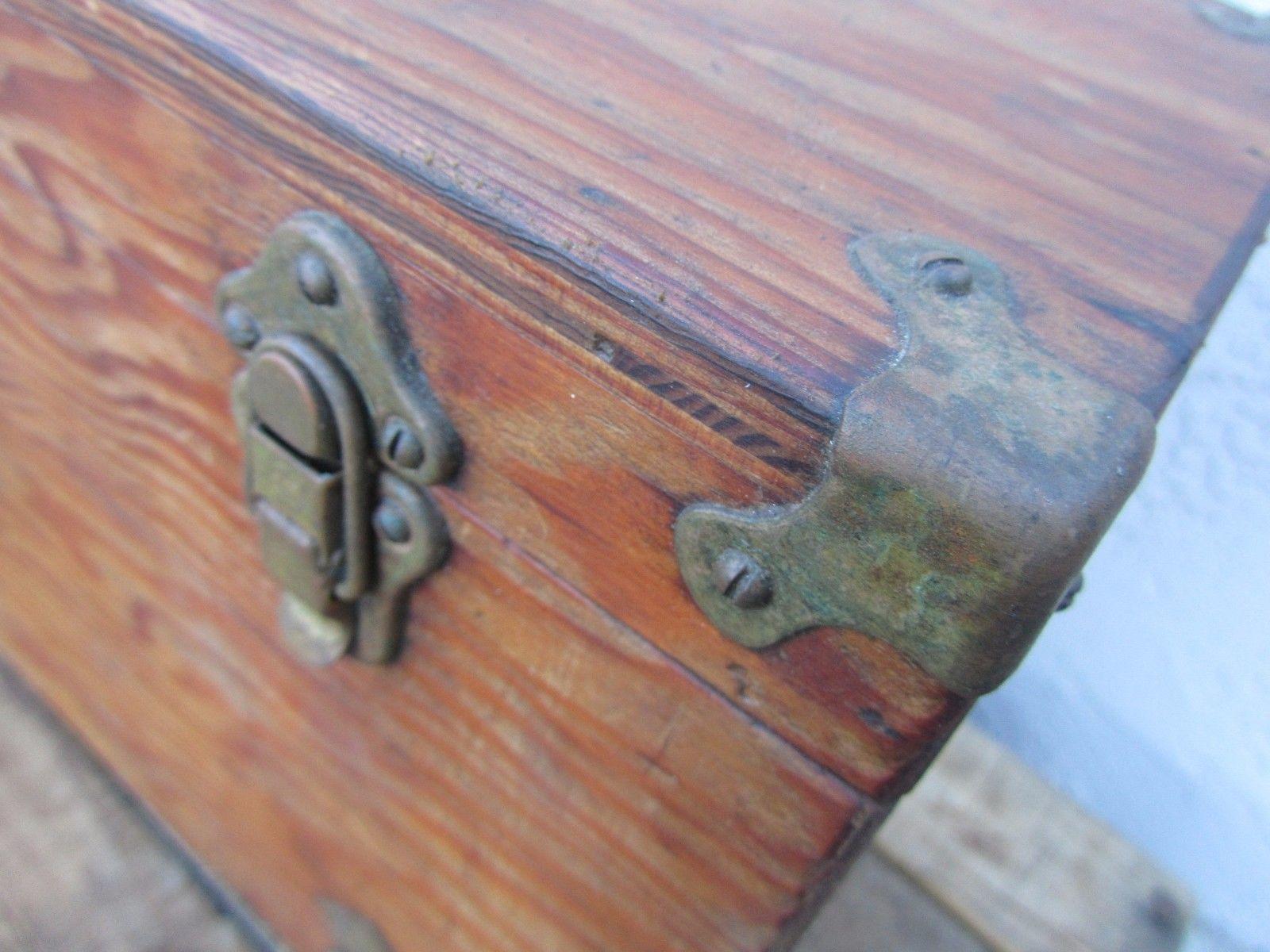 Vintage Wood Fishing Tackle Box Old Hardware Original Nice Ebay