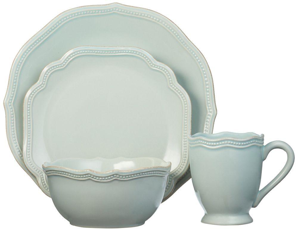 Lenox 4 Piece French Perle Bead Dinnerware Dish Place Setting, Ice Blue #Lenox