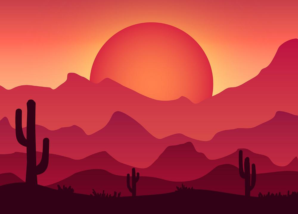 Dibujos Con Degradacion De Colores Paisajes Rosa Con Cactus Buscar Con Google Landscape Illustration Illustrator Tutorials Ilustration Design