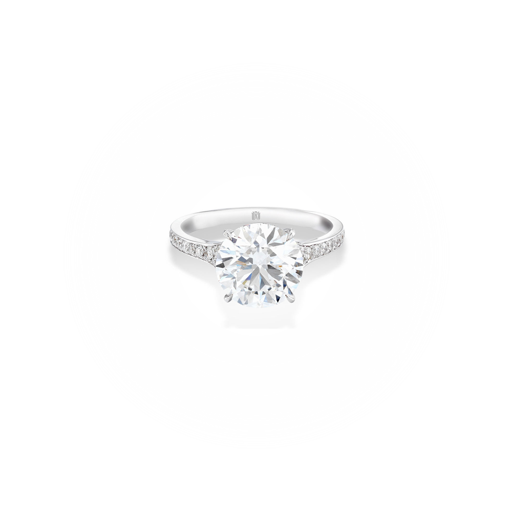 Solitaire engagement ring with pave band forevermark solitaires