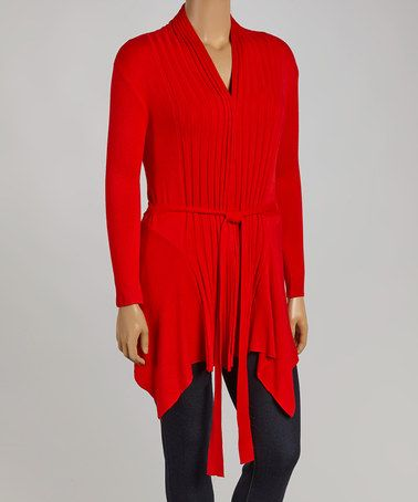 This Red Ribbed Open Cardigan - Plus is perfect! #zulilyfinds