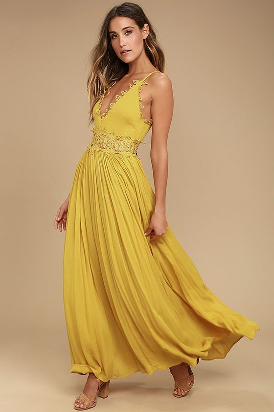 2c21cd04620f There s no doubt that the This is Love Mustard Yellow Lace Maxi Dress is a  true stunner! From adjustable spaghetti straps