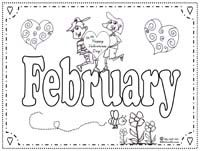 Months of the Year Coloring Page: February | Printables ...
