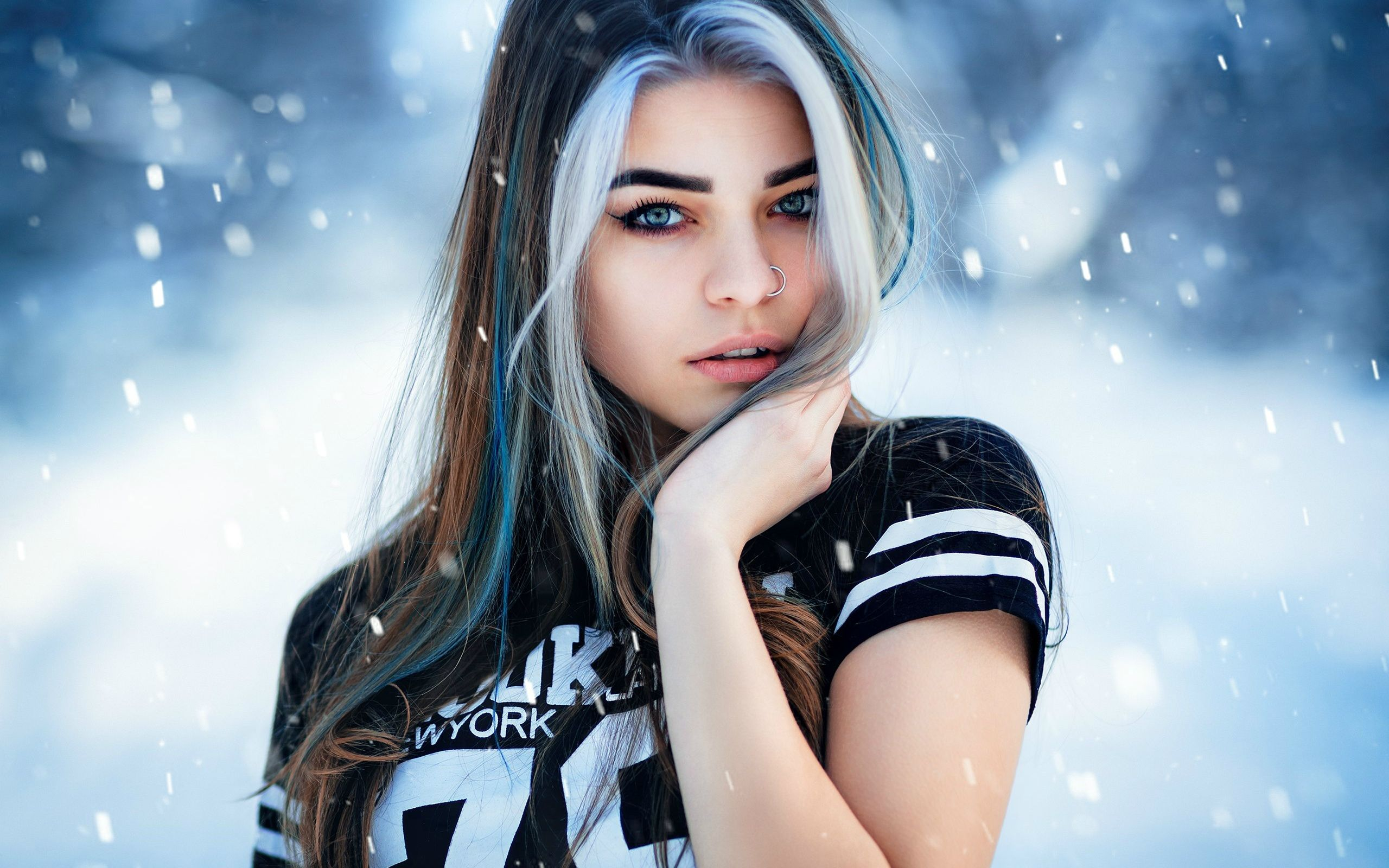 Обои на рабочий стол: девушка, зима, снег. (с ...