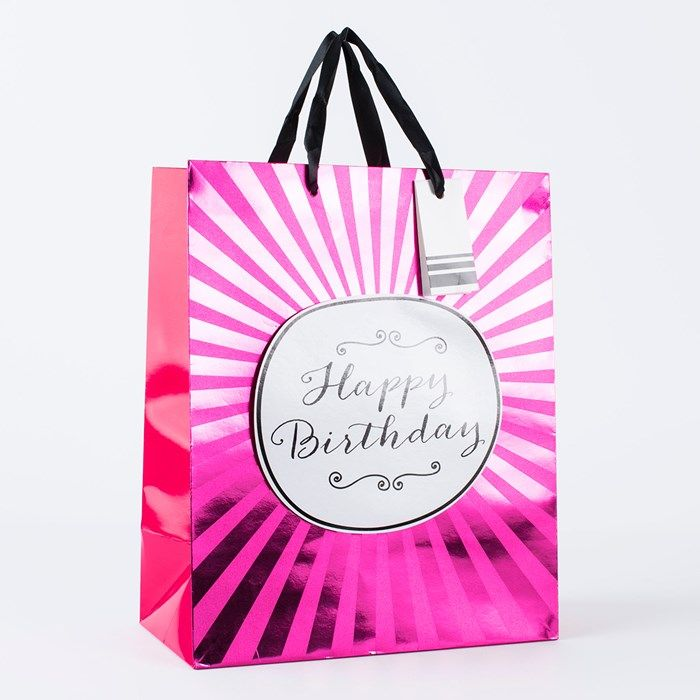 Pink Foil Happy Birthday Large Gift Bag