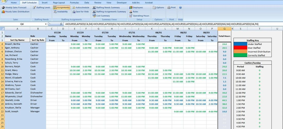 Call Center Scheduling Excel Spreadsheet