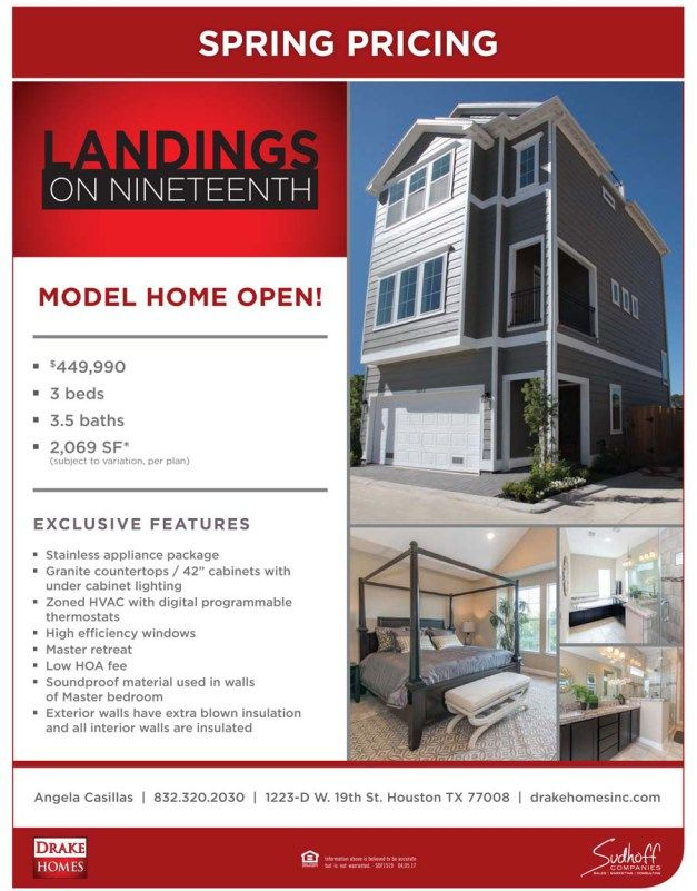 Spring Pricing announced! Landings On Nineteenth by Drake Homes Inc.