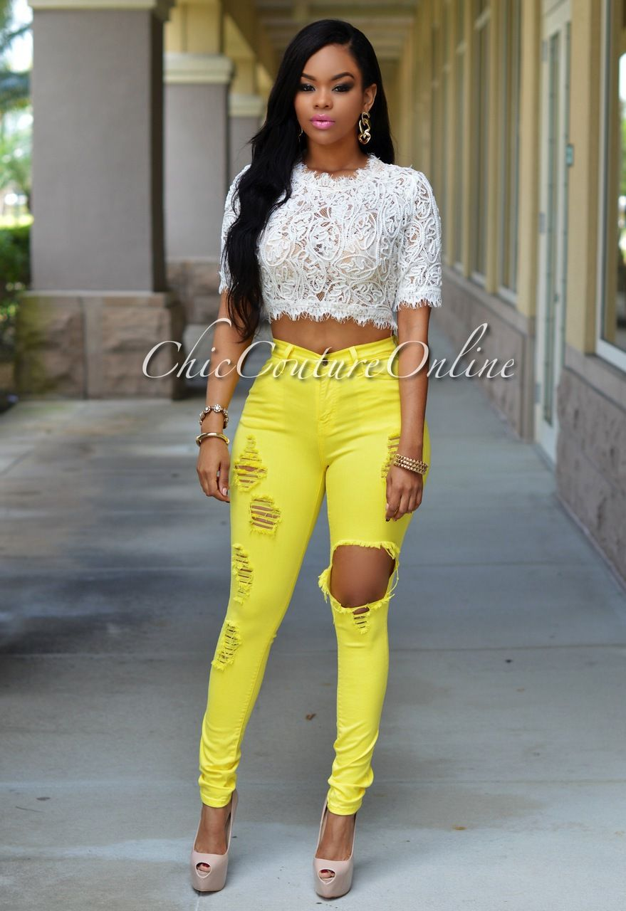 Chic Couture Online - Evinna Yellow Destroyed Denim Jeans, (http ...