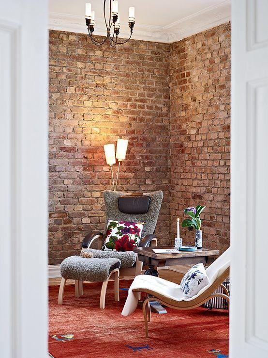 unbehandelte Backsteinwand wohnbereich | Wohnzimmer | Pinterest ...