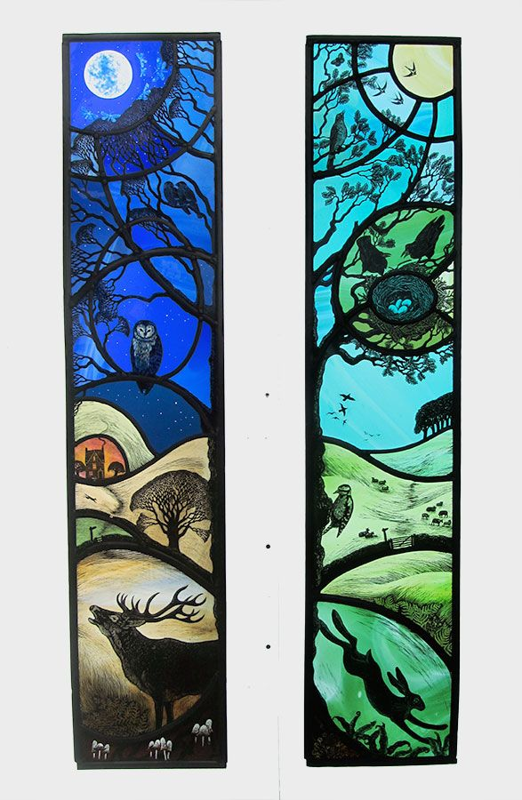 Night And Day Stained Glass Tamsin Abbott Azulejos De Mosaico