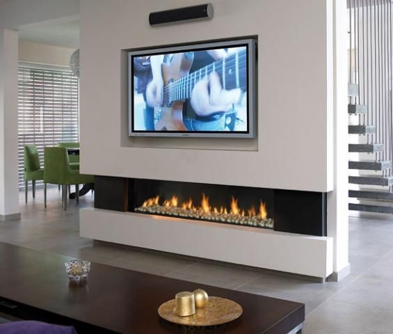 Stone Ethanol Fireplace Under Tv With Ideas Living Room