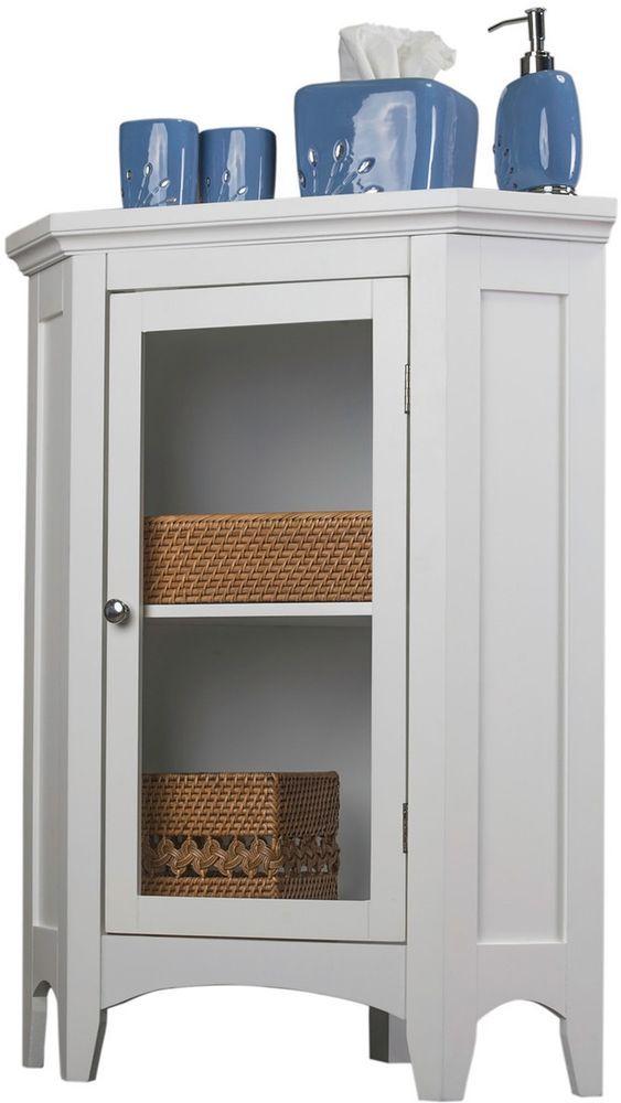 White Corner Floor Cabinet Shelves Glass Door Durable Wooden