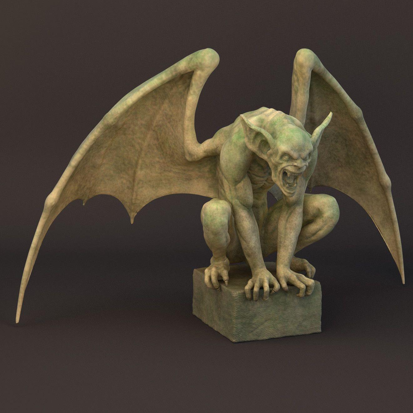 Gargoyle Sculpture 3d Obj Gargoyles In 2019 Pinterest
