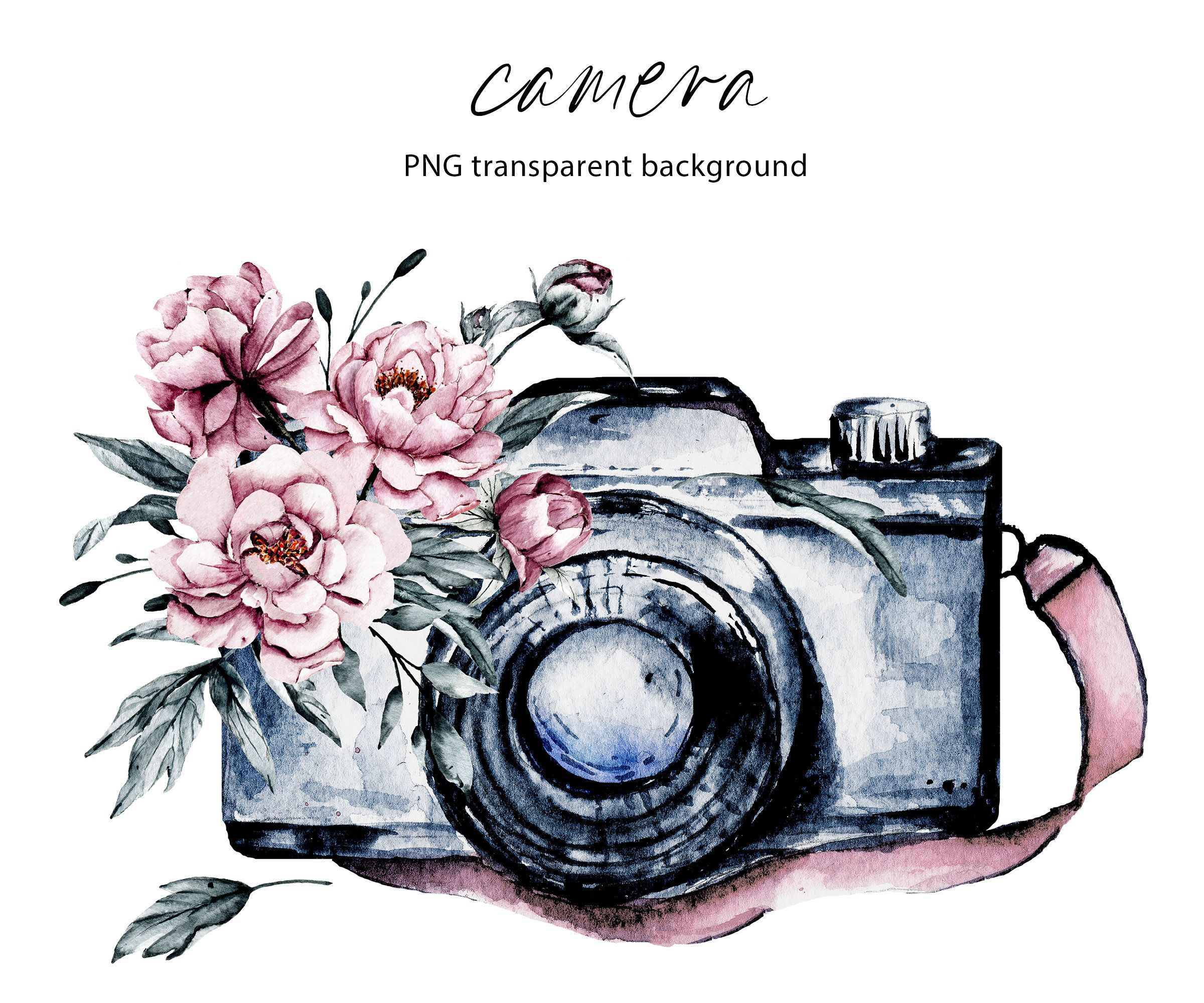 Camera With Watercolor Flowers Clipart Gift To Photographer Sublimation Design Png Downloads File Clear Background Free Commercial Use Camera Drawing Camera Clip Art Camera Art