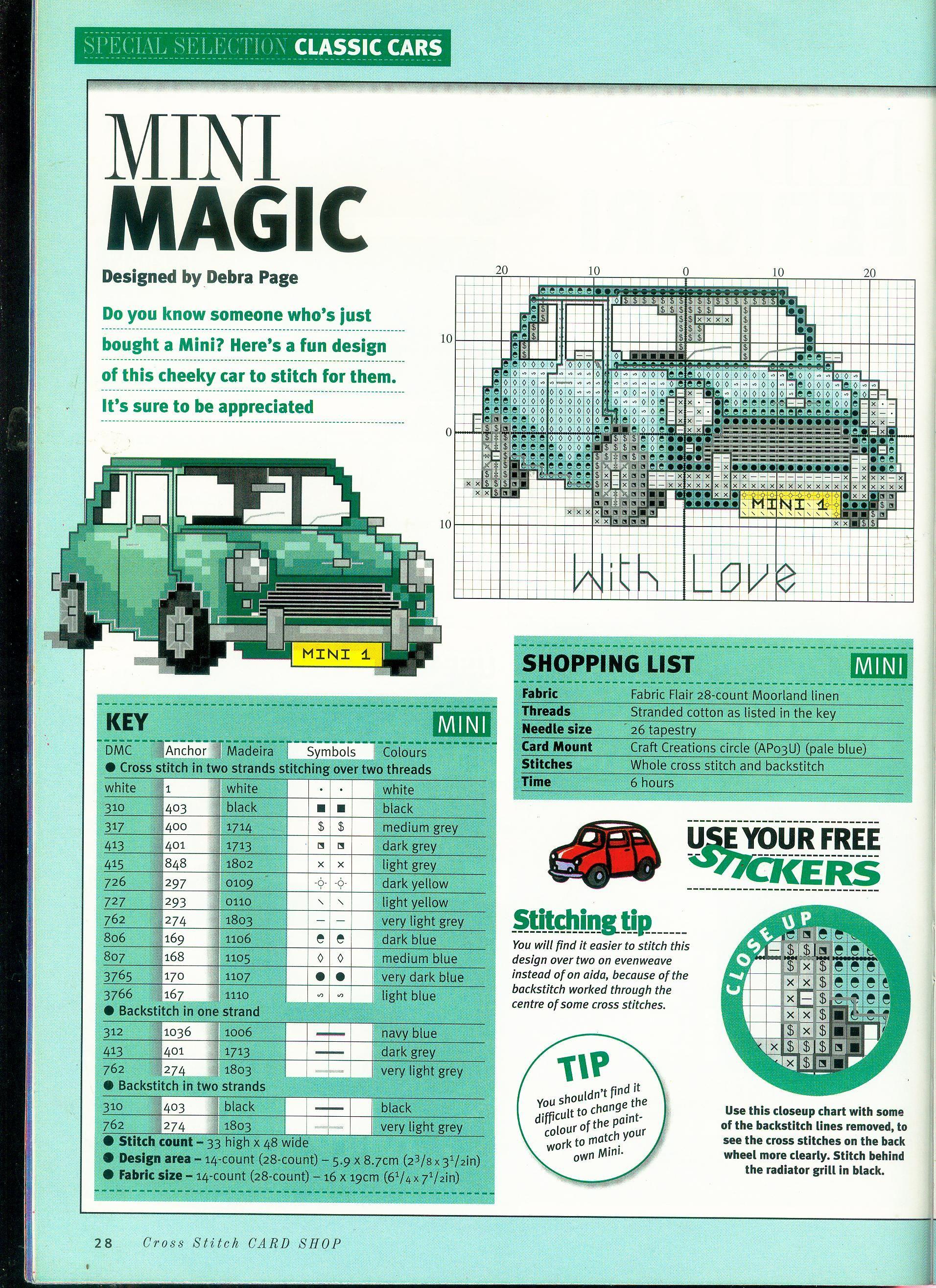 """Classic Mini Cooper Green Cross Stitch Kit 10/"""" x 5.7/"""""""