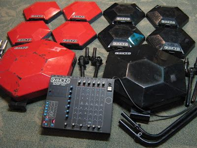 matrixsynth simmons sds9 vintage drum brain 10 original red and black trigger pads electro. Black Bedroom Furniture Sets. Home Design Ideas