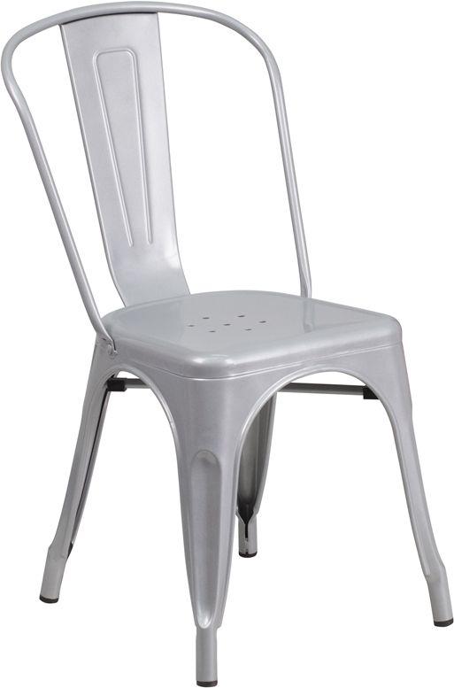 Silver Metal Indoor Outdoor Chair Stackable Bistro Style Chair