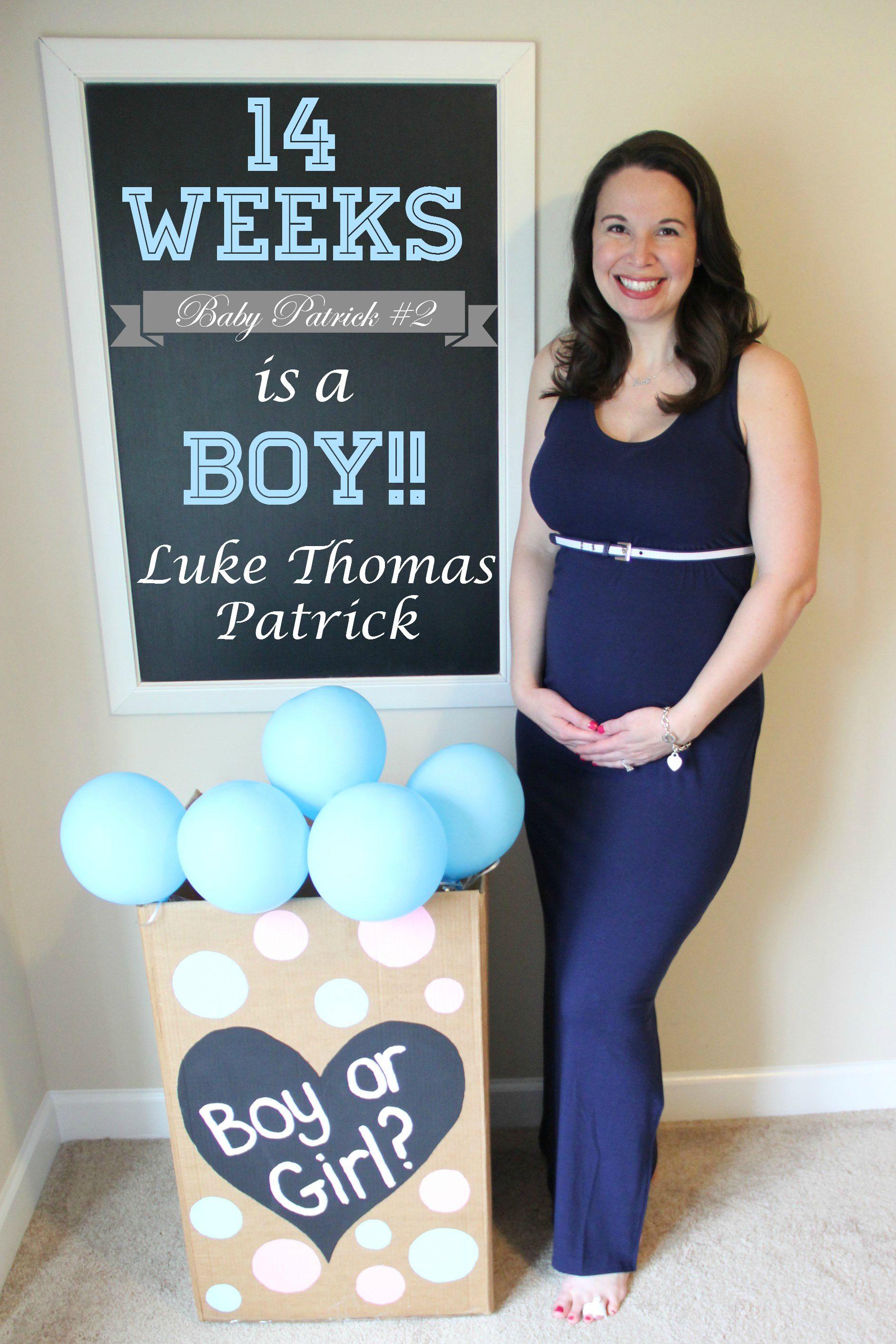 14 weeks pregnant; weekly pregnancy chalkboard / chalk board; gender  reveal; it's a boy