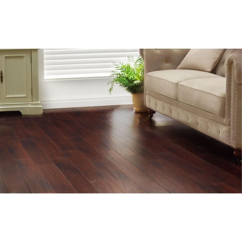 Home Decorators Collection Hand Scraped Strand Woven Dark Mahogany 3 8 In T X 5 1 8 In W X 36 In L Engineered Click Bamboo Flooring Kitchens Engineered