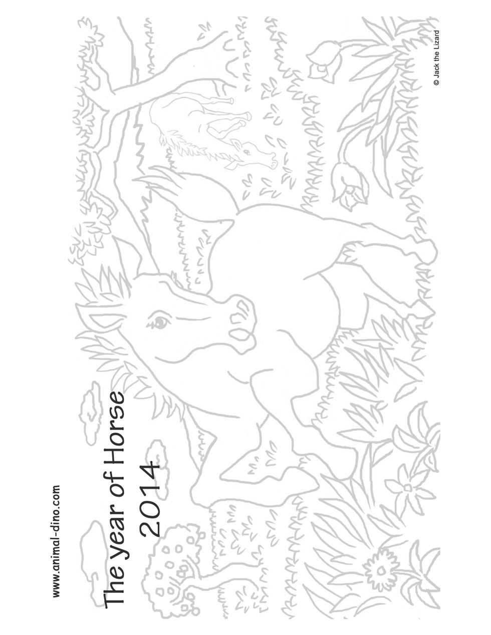 Animal Coloring Page (2014 The Year of Horse) Print Size
