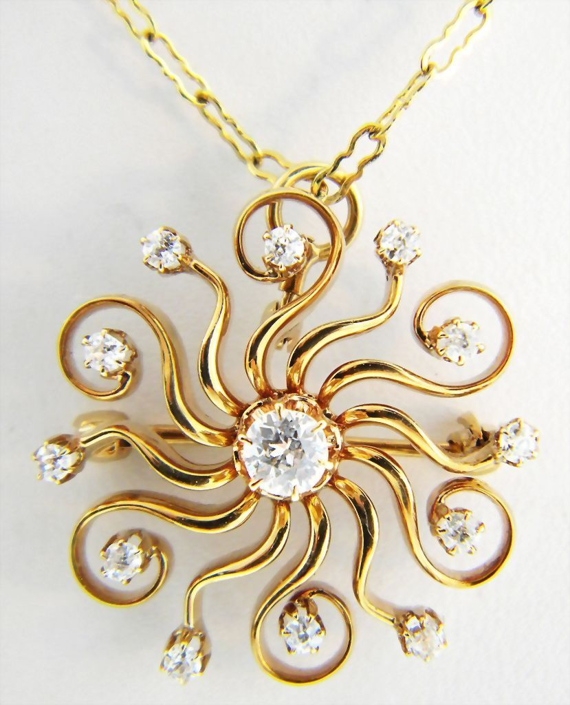Antique Mine Cut Diamond Lavaliere 14k Necklace