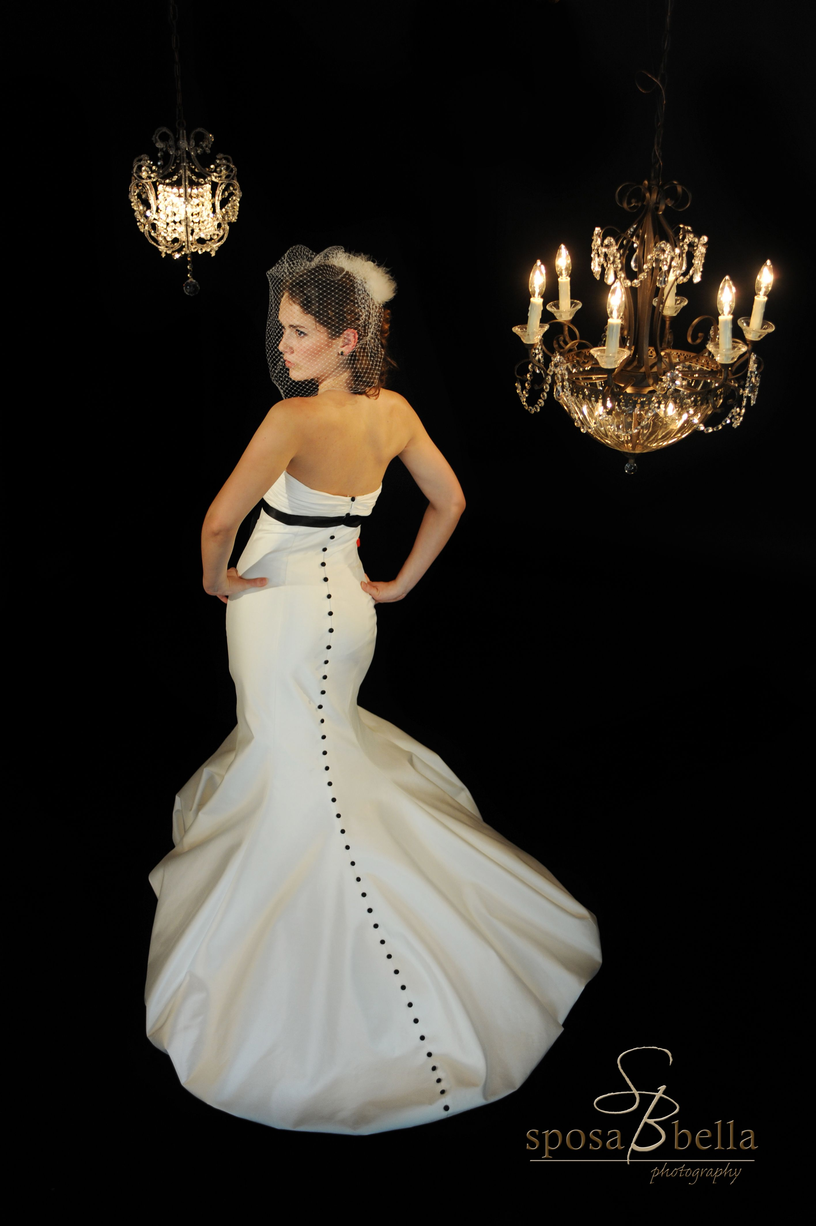 greenville sc weddings, wedding gown with black belt and black ...