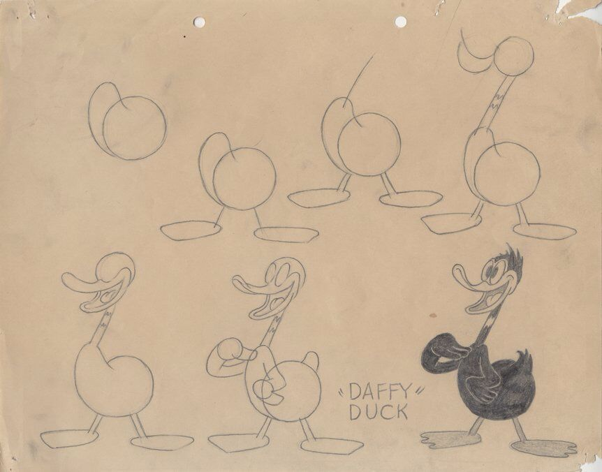 Model Sheet Featuring An Early Daffy Duck