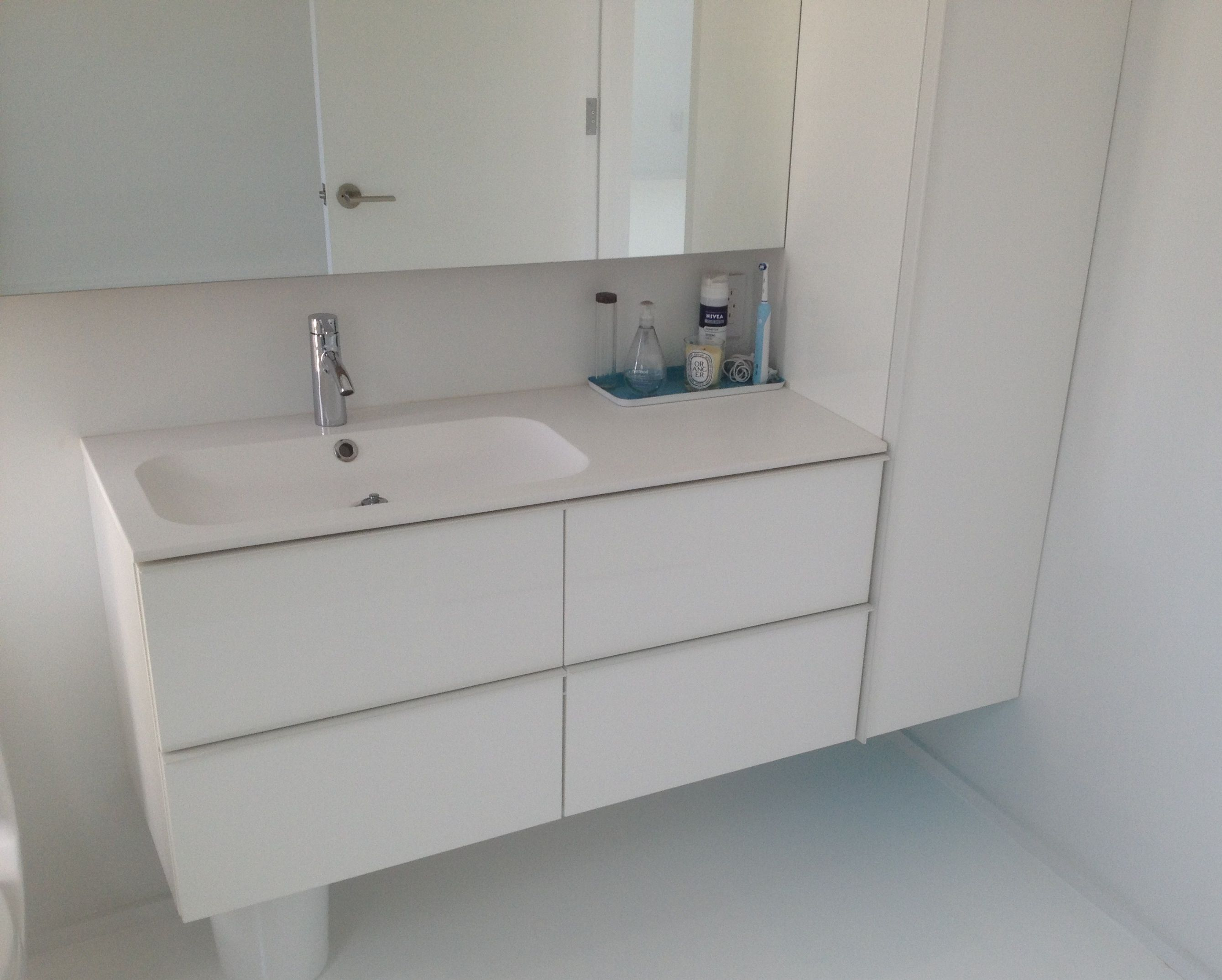 Glorious Floating White Acrylic Bathroom Vanities Ikea With Single  Undermount Sink Added Cabinets Designs In Modern White Bathroom Ideas