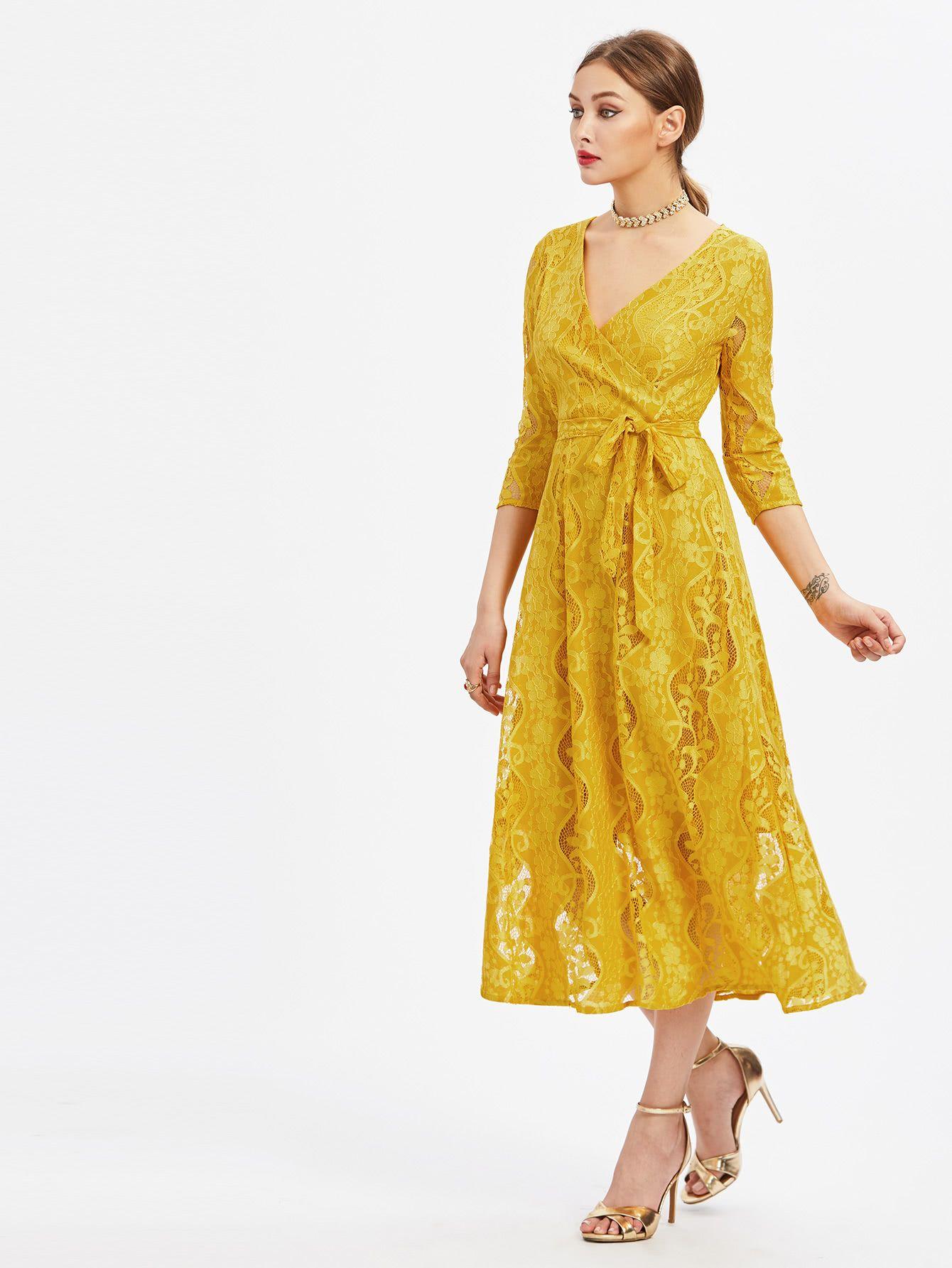 lace surplice front self tie dress | kleid spitze, kleider