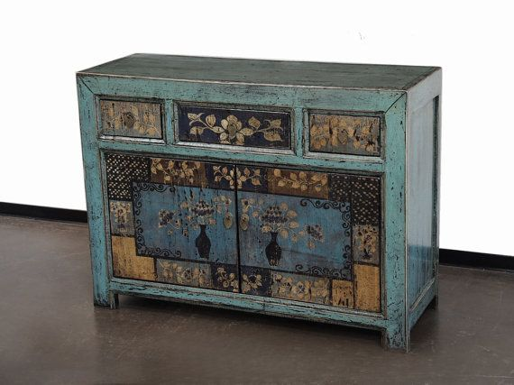 Hand Painted Blue Mongolian Cabinet By Terra Nova Furniture Los Angeles