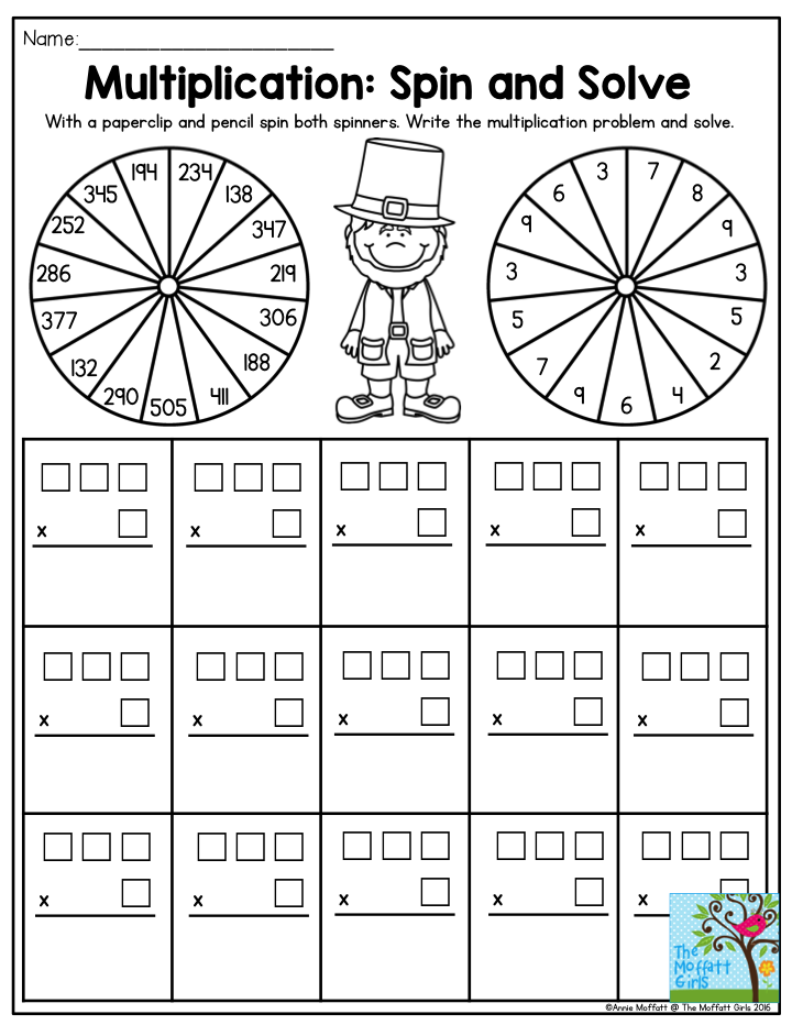 Multiplication Spin and Solve This activity makes