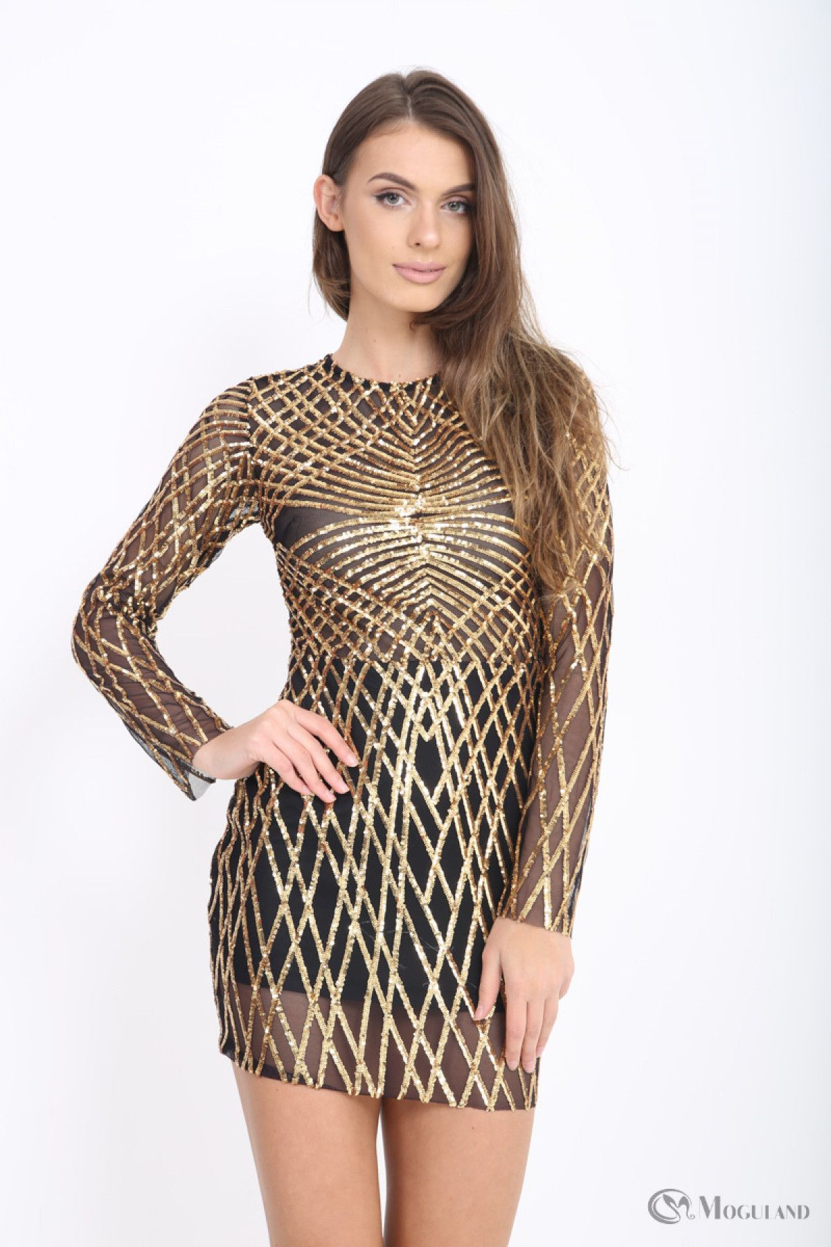 089eaa3cb0 Ladies gold sequin sheer long sleeve dress wholesale