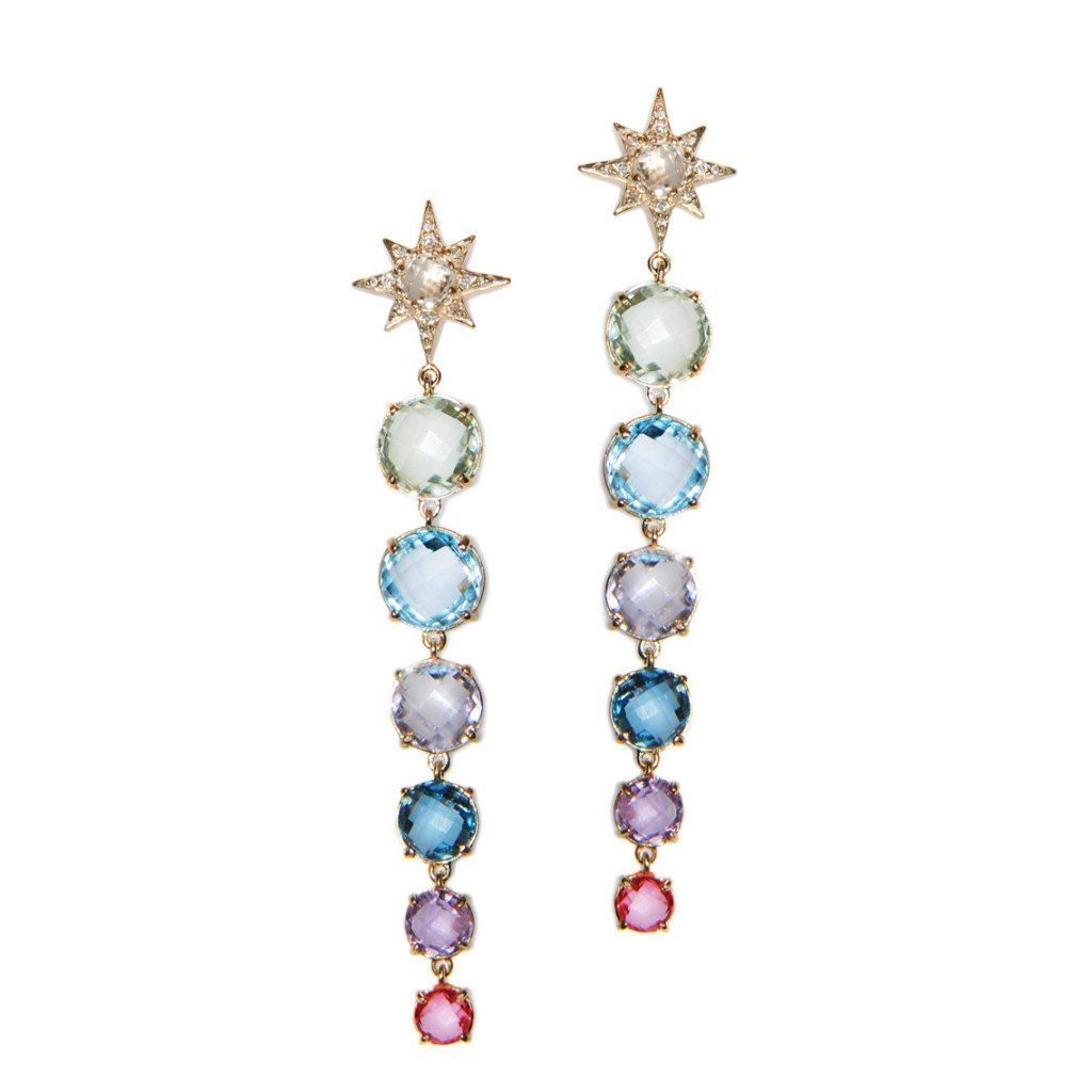 Colored Aztec Starburst Earrings