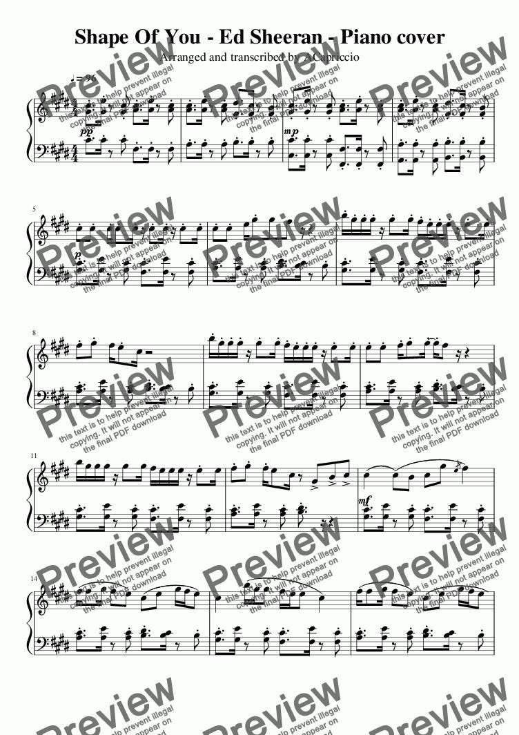 Ed Sheeran Shape Of You Piano Cover Download Sheet Music Pdf Piano Cover Sheet Music Print Sheet Music