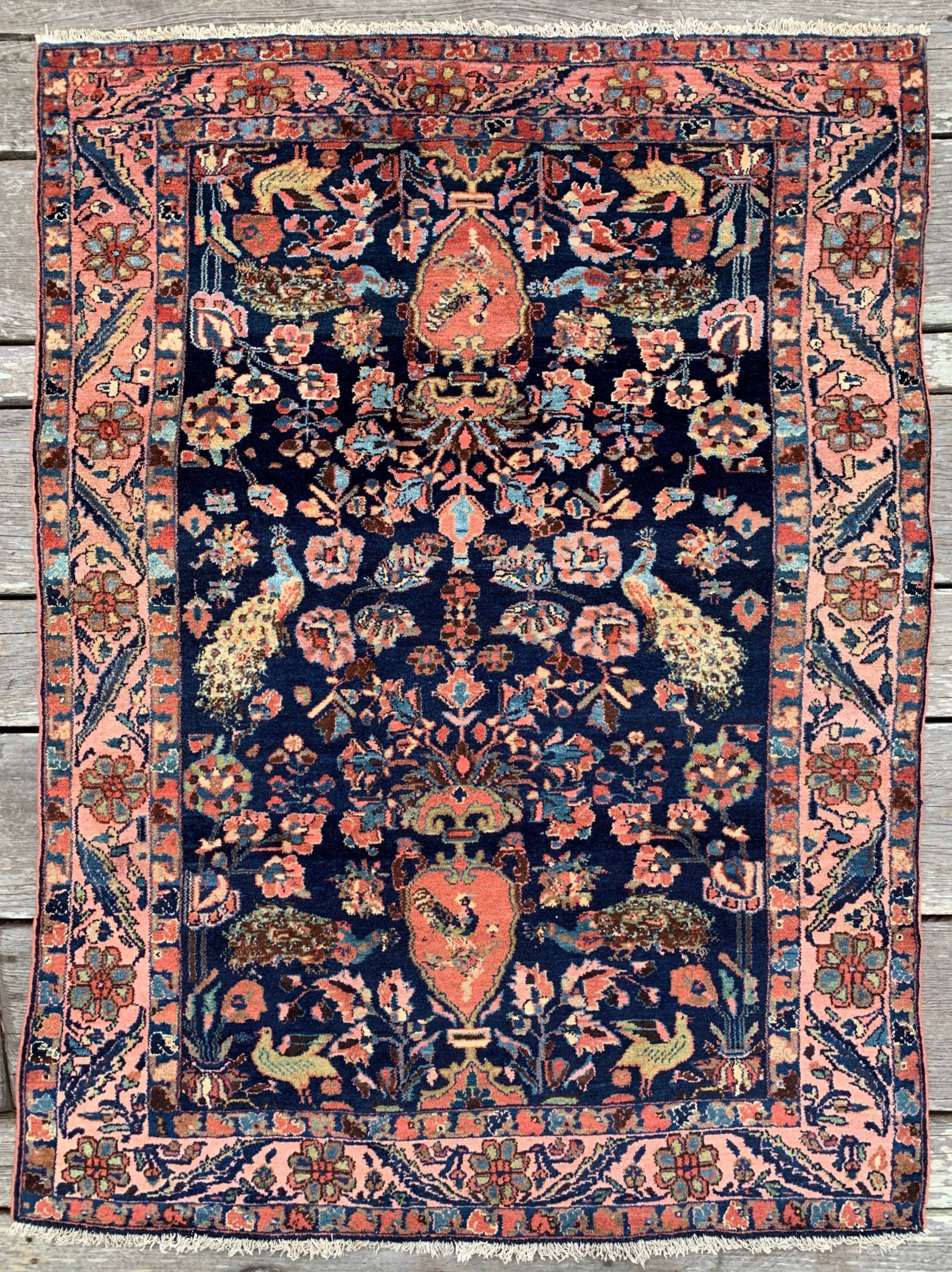 Antique Persian Bakhtiari Rug 4 6 X 6 1 Blue Coral Peacocks Bakhtiari Rugs Rugs Silk Persian Rugs