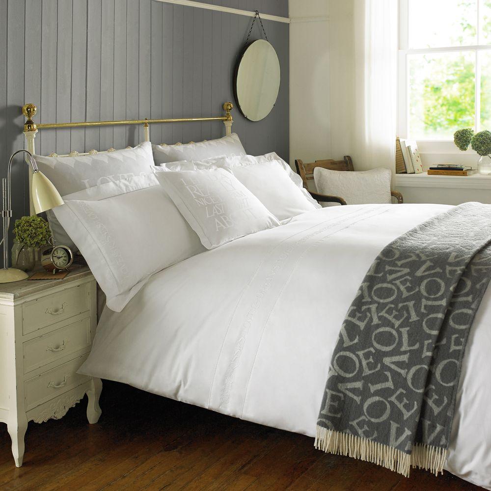 Embroidered White Bedding White bed set, Emma