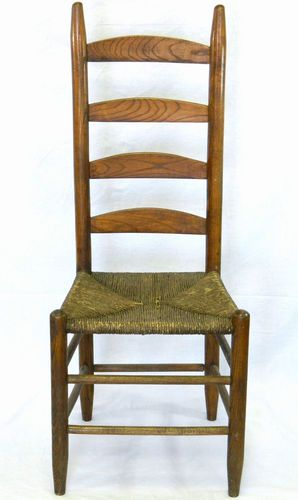 Amazing Antique Ladder Back Chair With Rush Seat Photo Gallery