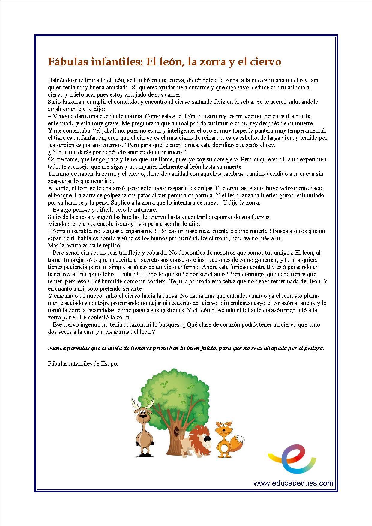 Fichas De Comprensión Lectora Para Primaria Fábulas Comprensión Lectora Comprensión Fabulas