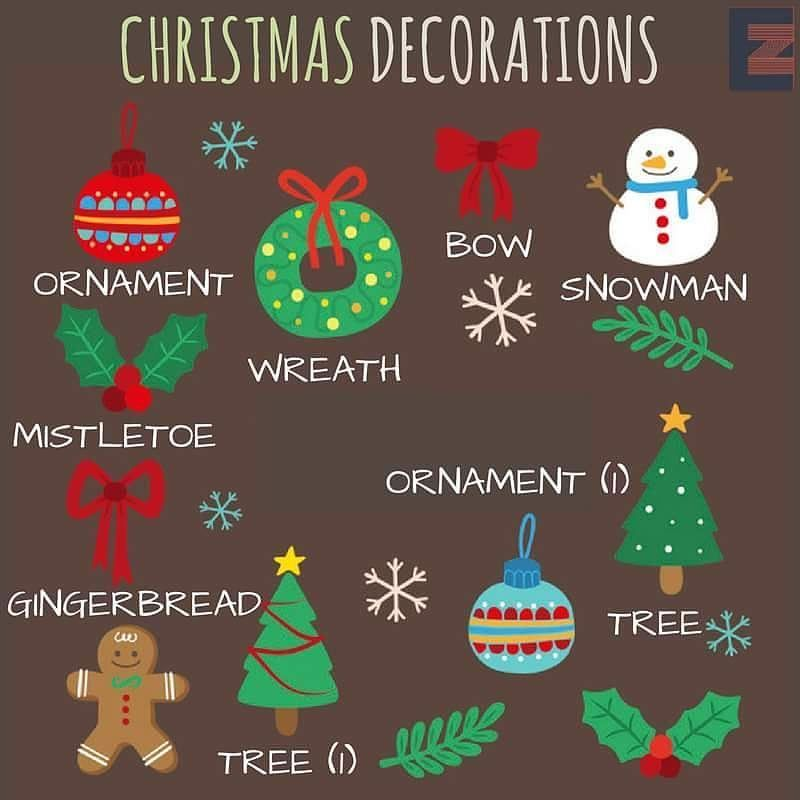 Christmas Decorations Grammar And Vocabulary, Vocabulary Worksheets,  English Vocabulary, Education English, Teaching - Christmas Decorations ESL: Vocabulary Workbook English
