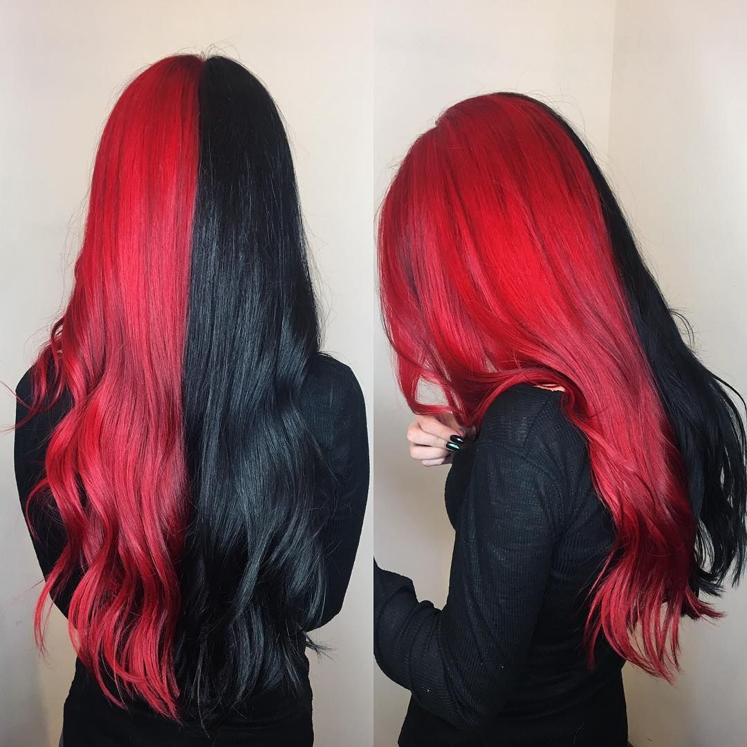 Half Red Half Black Brazilian Full Lace Wigs With Baby Hair Split Dyed Hair Hair Styles Hair Color For Black Hair