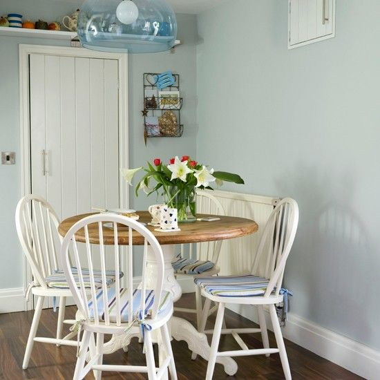 Pale blue country dining room